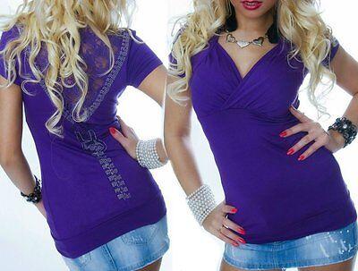 Sexy Miss Mujer Girly Larga Top Brillo Estrás Camiseta Espalda Encaje 34/36/38