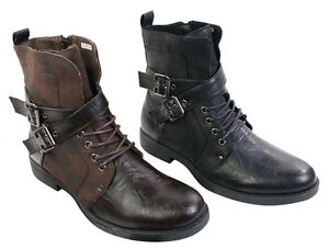 Mens-Punk-Rock-Goth-Elmo-Ankle-Boots-Brown-Black-Leather-Buckle