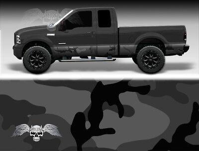 Panel Urban Lights - Rocker Panel Wrap Kit - Black Camo - Light Black Urban Camo Truck Side Wrap