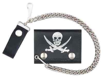 Genuine Leather Men's Pirate Skull Tri-Fold Biker Chain Wallet, Black TC304-70s