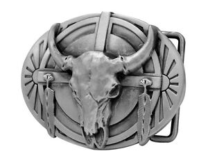Native American Ceremonial Indian Buffalo Skull Belt Buckle