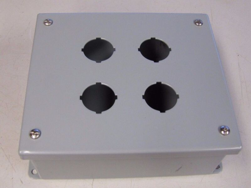 "HAMMOND 1435F 7 1/4"" X 6 1/4"" X 3"" STEEL 4 HOLE HINGED ELECTRICAL ENCLOSURE NEW"