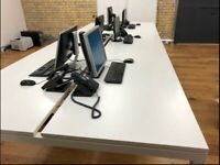 White Bench Office Desks, Silver Frame (6 People), Excellent Condition