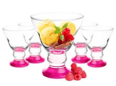 6 Eisbecher mit handgemaltem Boden Rosa Dessertschalen Eisschalen Eisgläser Glas