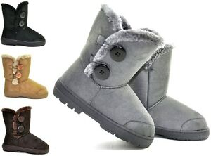NEW SNOW WINTER WOMENS ALL COLOURS SIDE BUTTON FLAT FUR BOOTS SIZE 3-8