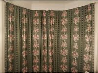 Extra Long Pair of Curtains, Wide Enough for Bay Window in a Tenement Flat. Lined for Warmth.