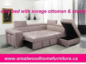 MODERN SOFA BED WITH STORAGE OTTOMAN & STOOLS..$1299