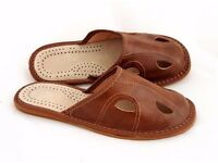 Mens 100% Genuine Leather Slippers Shoes. Many Designs. Brand New