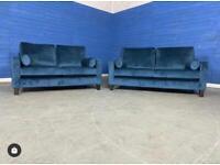Designer 'Bailey' Pacific Navy Blue Plush Velvet 3 Seater Sofa + 2 Seater Sofa Set