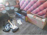 PS3 Rock Band Drums Sticks 2 x Guitars