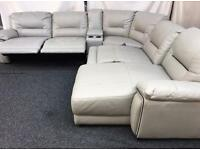 HARVEY CREAM LEATHER RECLINER SOFA - CHAISE - REID HEDGEMOOR - RRP £2500!! FREE DELIVERY TODAY !!!
