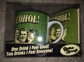 GREEN DRINKERS CUP AND COASTER