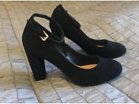 Black Heeled Pumps with ankle strap (size 4/37)