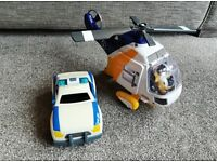 Fisher price imaginext helicopter and police car