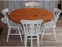 shabby chic solid pine dining table and four chairs