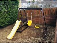 Plum Double Swing + Slide Children's Outdoor Garden Set