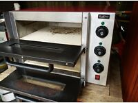 "Commercial Electric Double Deck Stone 2 x 14"" pizza oven catering equipment."