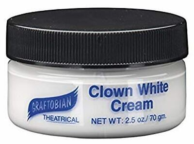 Graftobian Clown White Cream 2.5oz Professional Makeup Theater Pro Face Paint - White Clown Paint