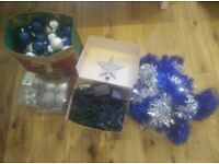 Cool silver blue Christmas tree decorations full set