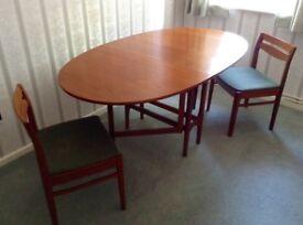 VINTAGE TEAK DINING TABLE & 4 CHAIRS - NATHAN OVAL GATELEG