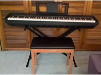 Yamaha P-35 Digital Piano with wooden stool and adjustable stand