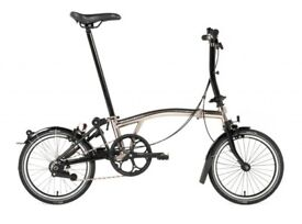 Unused Brompton Nickel limited edition S2L folding bike with carry-bag