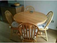 Oak table & four chairs