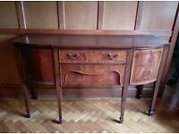 Reproduction mahogany bow fronted sideboard 1517mm long x 525mm deep x 915mm high