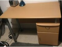 Beech Desk with drawer and cupboard section