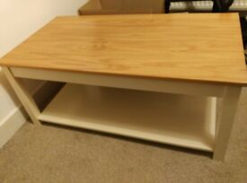 Ivory painted oak coffee table with shelf