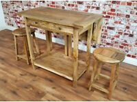 Extendable Space Saving Design Rustic Extending Breakfast Bar with Two Stools