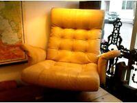 Scandinavian 70's Designer Leather Chair