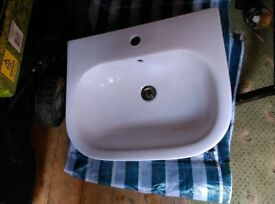 White Bathroom Basin and Pedestal 55cm wide