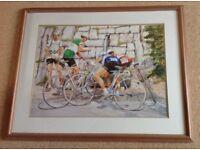 Leonard Goff limited edition Signed print 83/100. Tour de France, Water Boys.