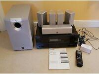 Onkyo TX-SR607 AV receiver and yamaha speakers, home cinema system