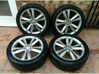 GENUINE 17 INCH SEAT LEON FR ALLOY WHEELS WITH TYRES 5X100 225/45/R17