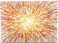 LARGE ABSTRACT MODERN WALL ART NEW YELLOW ORANGE SUN STAR SPLASH PAINTING ON CANVAS | Free Delivery