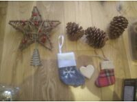 Warm gold, red, green Christmas tree decorations full set
