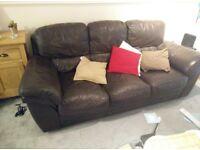 Sofa 3 seat settee brown leather