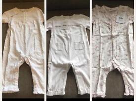 Girls 3- 6 m 3 pretty sleepsuits, brand new, little white company