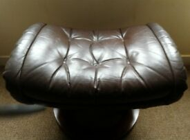 Leather and Wood Footstool