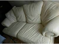 FREE DELIVERY - CREAM LEATHER 2 SEATER AMD ARMCHAIR AND FOOT STOOL TO MATCH
