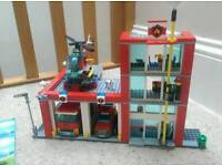 Lego City 60004 Fire Station with 3 vehicles & 5 figures complete