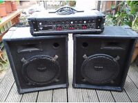 "100W PA System. Torque T100PA (Reverb) & 2 x 12"" Eminence Speakers. BARGAIN!!!"