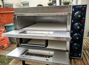Commercial Electric Double Deck Stone pizza oven catering equipment.