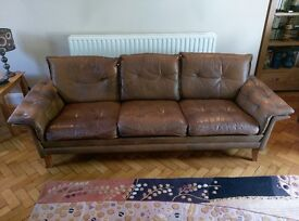 Leather Sofa - seats 3 comfortably