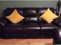 3 Seater Brown Leather Sofa and Recliner Chair
