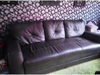 Chocolate leather storage sofa