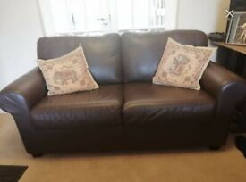 Brown leather sofa - good condition