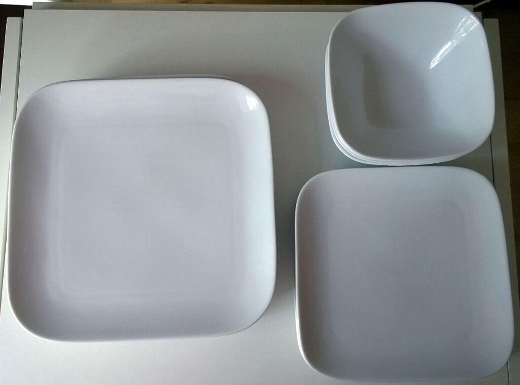 Loft by Over & Back White Porcelain 15-piece Dinnerware Set Square ...